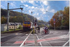 Los ciclistas (mariadoloresacero) Tags: train tren ciclistas