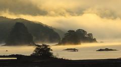 Dawn at Lake Akimoto (seiji2012) Tags: 福島県 裏磐梯 秋元湖 夜明け 暁 シルエット 靄 fukushima lake sunrise silhouette dawn fog haze
