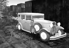 Traveling in Style (Inner Space Explorer) Tags: sl secondlife neko innsmouth lovecraft antiquecar buildings vintage 1930s