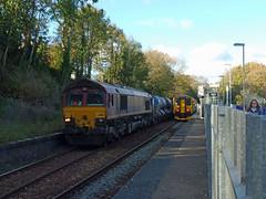 66067 & 150265 Penryn (Marky7890) Tags: dbcargo 66067 class66 3j15 gwr 150265 class150 sprinter 2t80 penryn railway cornwall maritimeline train