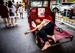 Sleeping.... (Phg Voyager) Tags: sleep sleeping street outdoor color leica mp 24mm smilax phgvoyager poor china xian muslin urbanscape city car man male photography red cycle tourists walking hard sad social shoes hot summer nap relax driver feet foot urbanlife