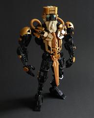 Kingmarshy (Kingmarshy) Tags: lego bionicle hero factory moc self persona weapon gold black titan revamp beard crown king marshy kingmarshy fusion action figure sword hammer tool brick built head