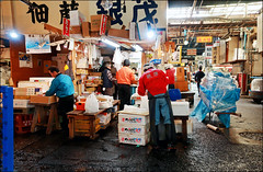 Just After Closing - Tsukiji Fish Market, Tokyo, Japan (TravelsWithDan) Tags: tsukijifishmarket justafterclosing men indoors blue tokyo candid japan fishmarket wetfloors working canong3x urban city people signs goodbye