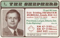 The Shepherd: The Shepherd - Aylmer, Ontario (73sand88s by Cardboard America) Tags: qsl cb cbradio vintage qslcard theshepherd ontario artistcard