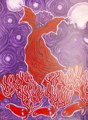 night (lilotus32@ymail.com) Tags: art contemporaryart creation drawing painting picture watercolour акварель джаз искусство рисование творчество tambourine deer moon purple red бубен олень луна фиолетовый красный