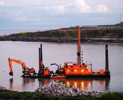 Tilt. (HivizPhotography) Tags: wasa dredging boulder drilling rig hitachi ex1200 dredger ship barge aberdeen harbour expansion excavator heavy metal sea north northeast granite rock work boat