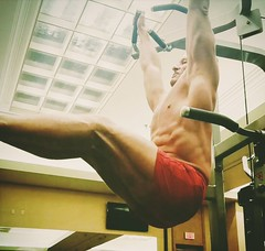hanging leg raises (ddman_70) Tags: shirtless pecs abs gym muscle workout shortshorts