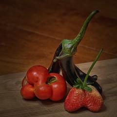 Kindred Souls - Birds of a feather flock together... (Iskou-Hee) Tags: tomato strawberry eggplant stilllife vegetable unusualshapes kindredsouls