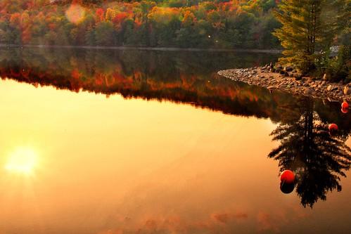 Lake Placid New York  ~ Ausable River at Franklin Road Bridge @ Sunset