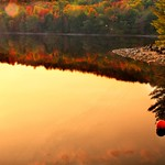 Lake Placid New York  ~ Ausable River at Franklin Road Bridge @ Sunset thumbnail