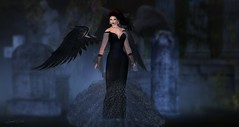 Black Angel (Sannita_Cortes) Tags: kosmetik lovelysweet alma glamaffair ikon lelutka maitreya sintiklia tiffanydesigns beauty dressoutfits earring fashion female halloween headaccessorie headpiece lipstick makeup necklace poses swank wings secondlife sl styles virtualworld virtual virtualfashion