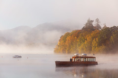 Derwent Launch (Paul Newcombe) Tags: lakes lakedistrict derwentwater cimbria island mist fog morning sunrise uk landscape autumn trees boat steamer tourism england lake water british countryside fells october fall colour launch