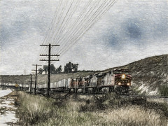 Eating Track (p) (davidseibold) Tags: america benaroad california cloud hill jfflickr kerncounty painting photosbydavid plant postedonflickr powerpole rain sky storm train tree unitedstates usa arvin