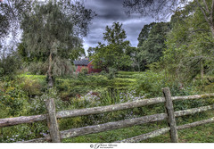 Historic Hildreth Robbins House (Pearce Levrais Photography) Tags: canon hdr historic chelmsford ma massachussetts explore picoftheday photooftheday yard backyard garden pond water reflections reflection fence wood flower plant