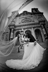 At the Basilica of St. Mary, Minneapolis (Camelot Photography Minnesota) Tags: weddings wedding weddingphotography bride best building blackandwhite kiss dress dip veil basilicaofstmary mn minneapolis minnesota married love amazing awesome architecture groom great