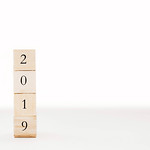 2019 written on wooden cubes on white background. New year. thumbnail