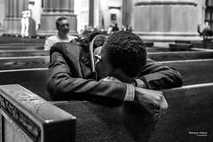 The New Yorkers - Distress at Saint Patrick's (François Escriva) Tags: parishioner street streetphotography us usa candid new york nyc ny olympus omd saint st patricks white bw monochrome man noir blanc nb bench cathedral black light