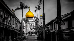Sultan Mosque - Singapore (Gerald Ow) Tags: singapore sg geraldow sultanmosque samsungs8 worship muslim masjidsultan kampongglam bw gold handphone photography desaturation black white lightroom samsung smg955f