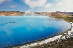 The Other Blue Lagoon (BlinkOfALens) Tags: iceland is myvatn pool blue steam geothermal hotspring landscape