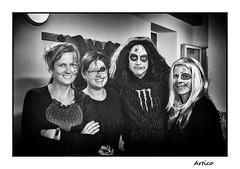 The scary four... (Artico7) Tags: halloween party people scary makeup happy faces bw blackwhite blackandwhite biancoenero monochrome varmo friuli italy fuji xe1 digital costumes dressed
