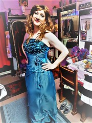 blue ballgown (Martina H.) Tags: prom formal dress gown ball party cocktail red blue hair elegant beauty woman girl satin