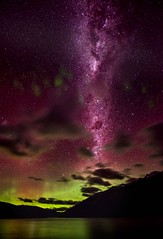 Aurora Australis... (Stuck in Customs) Tags: aurora newzealand trey ratcliff stuckincustoms stuckincustomscom treyratcliff australis milky way milkyway stars night green purple red shadow long exposure south island treyratcliffcom