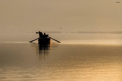 morning fishing in the lake (dim.pagiantzas | photography) Tags: nature water waterscape lakes boat fishing fishermen sunrise horizon fog foggy colors gold golden light ambient reflections figures people atmospheric