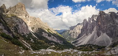 fischleintal (koaxial) Tags: p9194441ap9194443p1mba koaxial südtirol italy 2018 fischleintal hiking nature pano hugin stitch mountains berge sextener dolomites landscape view clouds wolken sky himmel