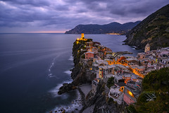 Just after sunset in Vernazza, Cinque Terre, Italy (diana_robinson) Tags: dusk sunset hilltoptown mediterraneansea sea waves vernazza italy cinqueterre longexposure nikonz7