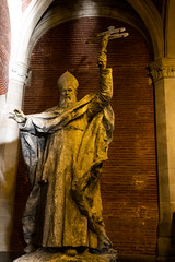 """what peaceful bishop he is! Statue at Musée des Augustins, Toulouse, Haute-Garonne, Occitanie, France (grumpybaldprof) Tags: striking artistic interpretation impressionist stylistic style contrast shadow bright dark black white illuminated colour colours colourful """"wideangle"""" """"muséedesaugustinsdetoulouse"""" """"couventdesaugustins"""" """"muséedesaugustins"""" """"middleages"""" occitan romanesque sculptures statues art gothic 1309 """"augustinianconvent"""" secularised 1793 """"frenchrevolution"""" museum 1795 """"monumenthistorique"""" cloister garden church gargoyles toulouse hautegaronne occitanie france """"4thlargestfrenchcity"""" tolosa airbus thales astrium """"southernfrance"""" """"lagaronne"""" """"garonneriver"""" bishop violent cross canon 80d """"canon80d"""" tamron 16300 16300mm """"tamron16300mmf3563diiivcpzdb016"""""""