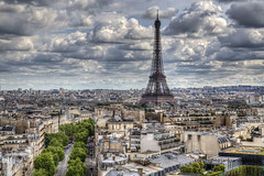 Eifel Tower (Jan Kranendonk) Tags: paris france french europe cityscape sky clouds cloudy travel buildings urban city overhead roofs view trees eifeltower tower landmark hdr eifel