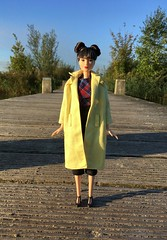 Flowy n' Flats. (dolldudemeow24) Tags: barbie fashionistas ruby red doll 2016 yellow raincoat trenchcoat buns fringe bangs black hair asian japanese style short jeans flats fall autumn fashion collection forest park water lake blue sky sunlight morning 2018