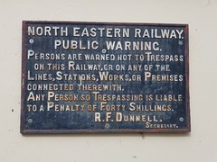 Vintage Railway Sign (Simon Downham) Tags: sign signage old vintage metal railway dunnell secretary rfdunnell north eastern northumberland penalty warning