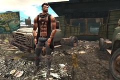 Trip to the construction site (JohnnyWalker29 Resident) Tags: secondlife second life sl signature mesh body bento hand gaeg head truck lkw trip construction trash avatar world human ripped jeans jacket hair tattoo time waits for noone pose animation site