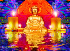 Peaceful (brillianthues) Tags: fractal candles water buddah circle pattern colorful collage photography photmanuplation photoshop