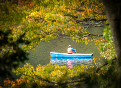 Boat Framed by Foliage (kellypettit) Tags: fallcolours frame leafs boat fishing fisherman autumn countryside