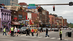 Nashville, Tennessee (tomst.photography) Tags: nashville tennessee broadway musiccity countrymusic bbq honkytonk bootscity boots musicians traffic intersection car people city road sign building oldtown jacksbbq barbeque thesecondfiddle predatorsway canonm50 canon canonphotography