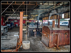 The Smoke Shed (PEN-F_Fan) Tags: microfourthirds mft m43 mirrorless raw photoborder photoedge photoframe olympusem5markii olympusm14150mmf4056ii coopersoldtimepitbarbque smokeshed smoke pit roof floor hdr skylum aurorahdr2019 on1photoraw preset postprocessing llano texas unitedstates hillcountry car automobile cooker