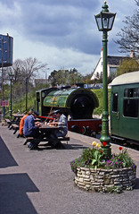 Lunchtime at Swanage. Former NCB Hunslet  0-6-0 'Whiston' takes a breather and gets a drink as the train crews eat their midday meal at Swanage station during April1990. (mikul44171) Tags: whiston swanage traincrew 060 pannier paniertank lunch lunchtime break gaslamp tulips spring springtime springflowers lamp lamppost volunteers meal mealbreak