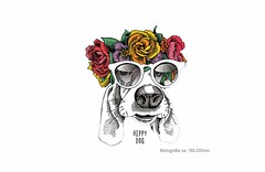 HIPPIE DOG, Print Patch zum aufbügeln (patchmonkeys) Tags: patch bügelbild hippie comic style applikation aufbügler print festival blumen design hund transfer