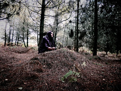 Wood Witch (marcusbentus) Tags: witch woods pines white cloak mysterious pagan wicca druid dcfz82 panasonic lumix bewitched scotspines path girl woman spooky strange mystic magic dark forest tree