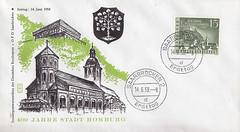 Briefmarken der Deutschen Bundespost Saarland (micky the pixel) Tags: briefmarke stamp ephemera bundesrepublik deutschland bundespost saarland ersttagsbrief firstdaycover fdc homburg schlossberg kirche church stmichael wappen