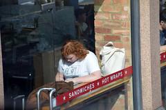 DSC_8592 London Bus Route #205 Shoreditch High Street Pret A Manger Sandwich shop Lady on the Phone (photographer695) Tags: london bus route 205 shoreditch high street pret a manger sandwich shop lady phone