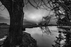 heaven (Paio S.) Tags: heaven bw sunset sky river mirror reflection countryside canon nature landscape sun clouds