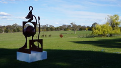 #30 Benkei sculpture Silouette against the sky (spelio) Tags: actsep2018shawyassvalleynsw canberra australia sep 2018 rural art sculpture murrumbateman