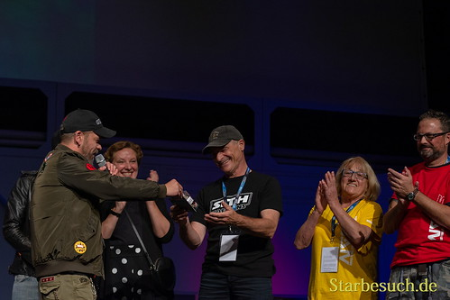 FUERTH, Germany - September 22nd 2018: Björn Schalla gives a gift to Hans-Georg Panczak at Noris Force Con 5