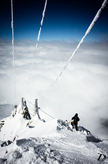Clearing ©DamienDeschamps (deschdam6@gmail.com) Tags: ski skiing chamonix classic steep steepskiing adventure adventurephotography powerlines clouds seaofclouds blue sky landscape landsofsteep playground lifestyle lifestylephotography snow powder winter extreme sport extremesport