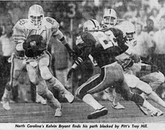 NC's Kelvin Bryant finds his path blocked by Pitt's Troy Hill in 1982 (Jbsbbailey) Tags: pittsburgh panthers 1982 foge fazio dan marino charlie bailey north carolina kelvin bryan troy hill