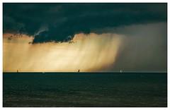 rain over the baltic sea (VeitHausmann) Tags: blau blue atmosphere atmosphäre segelboote boote baots rain sea meer ostsee regen