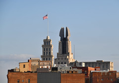 Powers Building & Times Square Building (dr_marvel) Tags: downtown newyork ny rochester powers timessquare pole flag wings powersbuilding timessquarebuilding tall